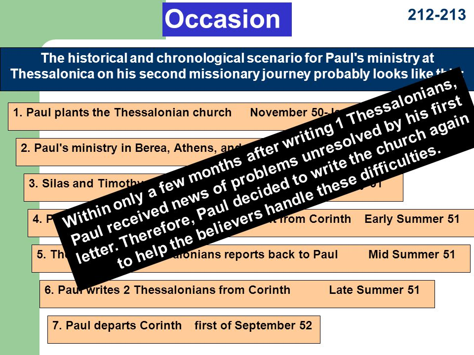 212-213 The historical and chronological scenario for Paul s ministry at Thessalonica on his second missionary journey probably looks like this: 1.