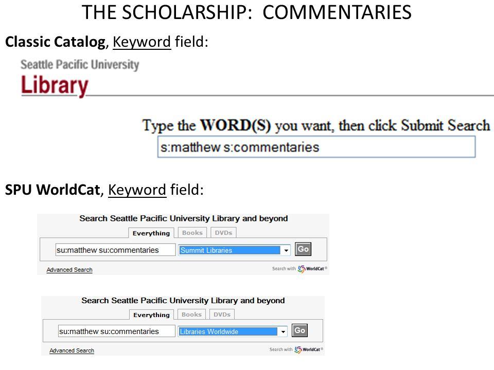 Classic Catalog, Keyword field: SPU WorldCat, Keyword field:
