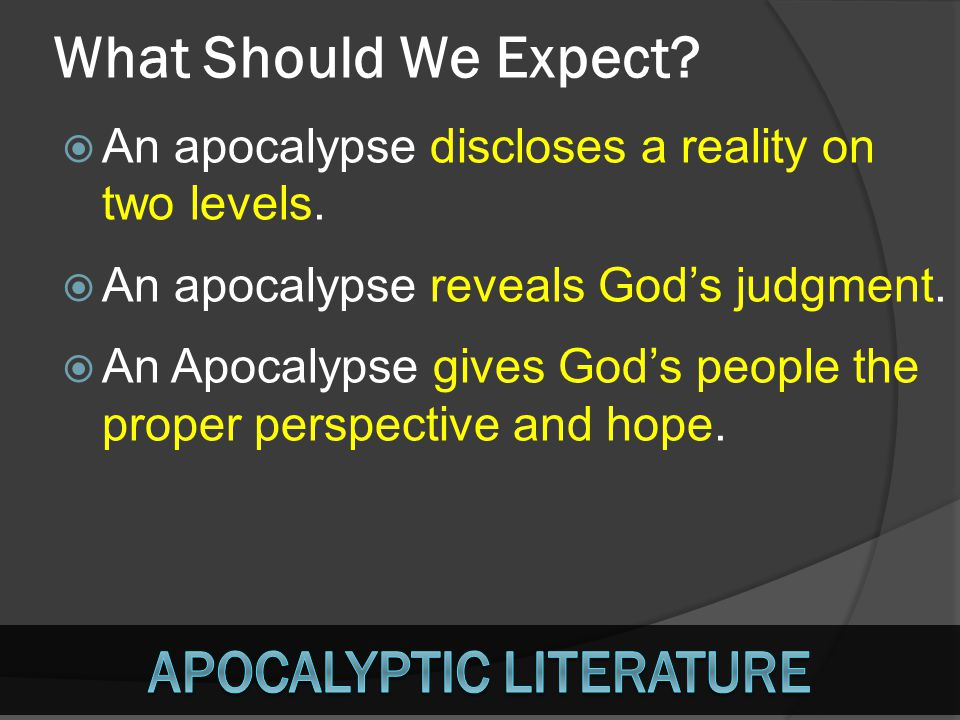 What Should We Expect? AAn apocalypse discloses a reality on two levels. AAn apocalypse reveals God's judgment. AAn Apocalypse gives God's peopl