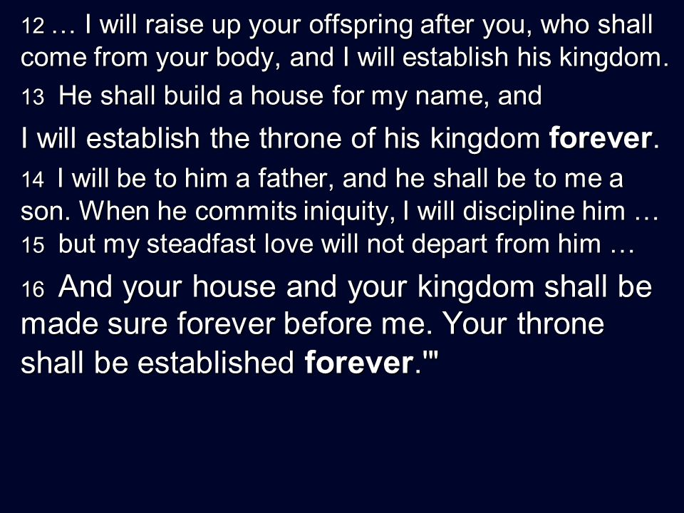 12 … I will raise up your offspring after you, who shall come from your body, and I will establish his kingdom.