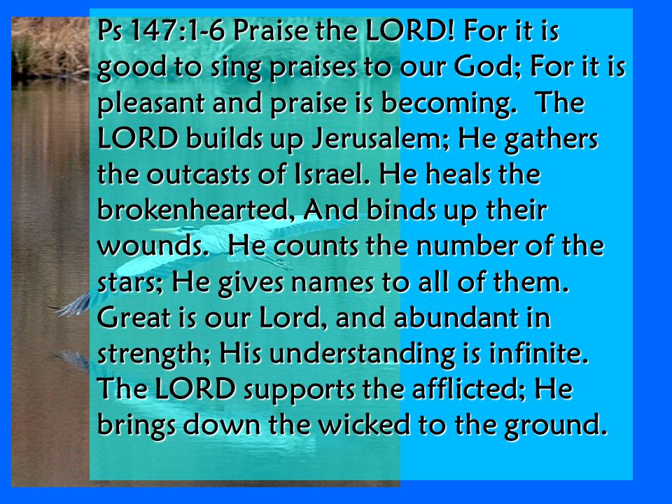 Ps 147:1-6 Praise the LORD.