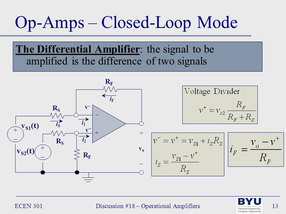 ECEN 301Discussion #18 – Operational Amplifiers13 Op-Amps – Closed-Loop Mode The Differential Amplifier: the signal to be amplified is the difference of two signals RFRF – + +vo–+vo– i1i1 v S2 (t) +–+– v+v+ v–v– iFiF RSRS iSiS i2i2 v S1 (t) +–+– RFRF RSRS