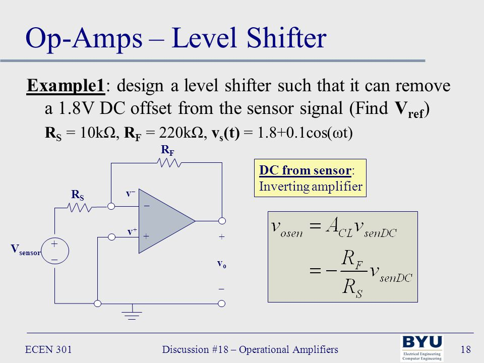 ECEN 301Discussion #18 – Operational Amplifiers18 Op-Amps – Level Shifter Example1: design a level shifter such that it can remove a 1.8V DC offset from the sensor signal (Find V ref ) R S = 10kΩ, R F = 220kΩ, v s (t) = 1.8+0.1cos(ωt) – + +vo–+vo– RFRF v+v+ v–v– RSRS V sensor +–+– DC from sensor: Inverting amplifier