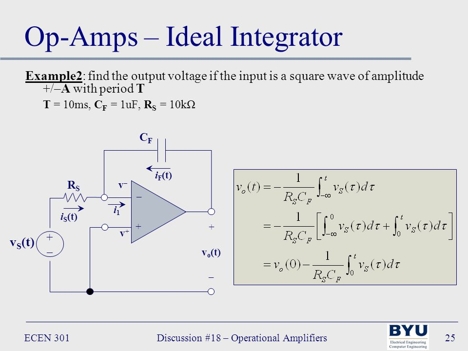 ECEN 301Discussion #18 – Operational Amplifiers25 Op-Amps – Ideal Integrator Example2: find the output voltage if the input is a square wave of amplitude +/–A with period T T = 10ms, C F = 1uF, R S = 10kΩ – + + v o (t) – i1i1 CFCF RSRS v S (t) +–+– v+v+ v–v– i F (t) i S (t)