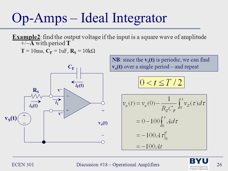 ECEN 301Discussion #18 – Operational Amplifiers26 Op-Amps – Ideal Integrator Example2: find the output voltage if the input is a square wave of amplitude +/–A with period T T = 10ms, C F = 1uF, R S = 10kΩ – + + v o (t) – i1i1 CFCF RSRS v S (t) +–+– v+v+ v–v– i F (t) i S (t) NB: since the v s (t) is periodic, we can find v o (t) over a single period – and repeat