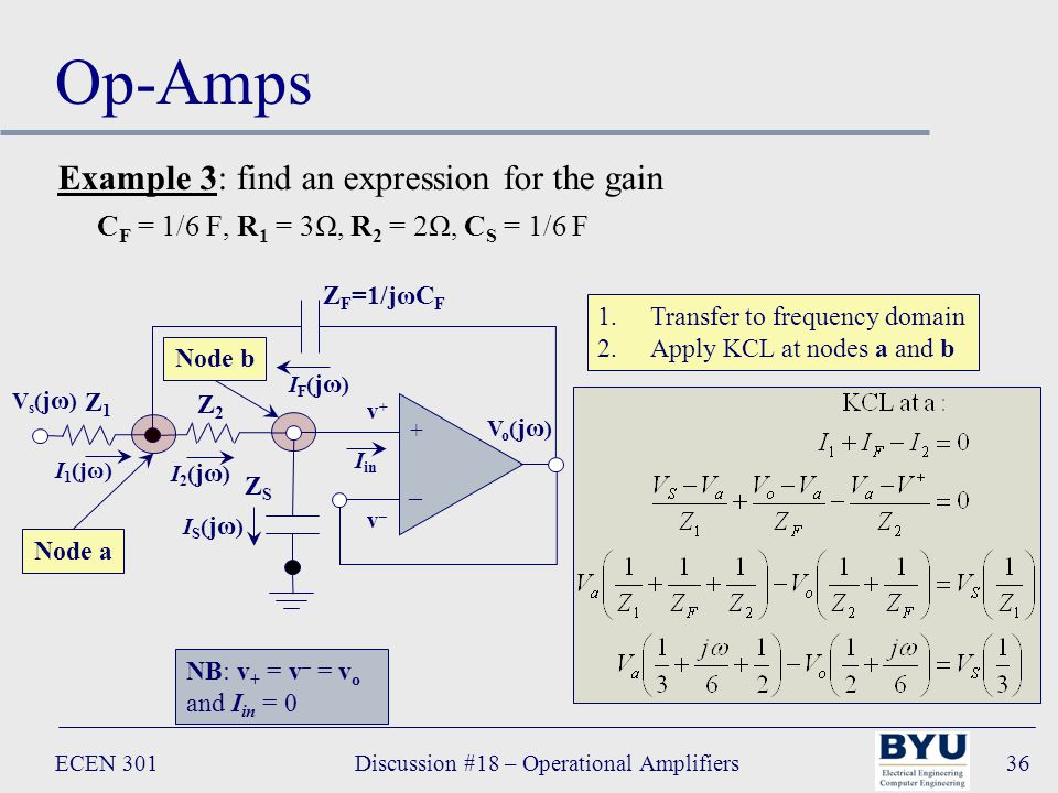 ECEN 301Discussion #18 – Operational Amplifiers36 Op-Amps + – Vo(jω)Vo(jω) I in Z F =1/jωC F Z2Z2 v+v+ v–v– IF(jω)IF(jω) I2(jω)I2(jω) Z1Z1 I 1 (jω) ZSZS IS(jω)IS(jω) Vs(jω)Vs(jω) Node a Node b 1.Transfer to frequency domain 2.Apply KCL at nodes a and b NB: v + = v – = v o and I in = 0 Example 3: find an expression for the gain C F = 1/6 F, R 1 = 3Ω, R 2 = 2Ω, C S = 1/6 F