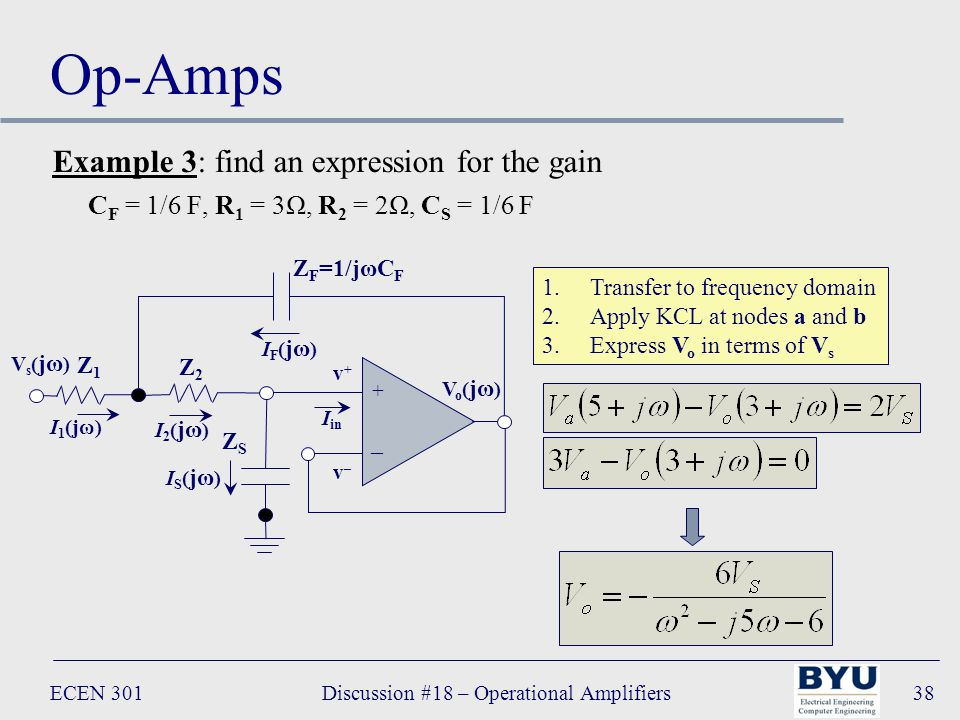 ECEN 301Discussion #18 – Operational Amplifiers38 Op-Amps + – Vo(jω)Vo(jω) I in Z F =1/jωC F Z2Z2 v+v+ v–v– IF(jω)IF(jω) I2(jω)I2(jω) Z1Z1 I 1 (jω) ZSZS IS(jω)IS(jω) Vs(jω)Vs(jω) 1.Transfer to frequency domain 2.Apply KCL at nodes a and b 3.Express V o in terms of V s Example 3: find an expression for the gain C F = 1/6 F, R 1 = 3Ω, R 2 = 2Ω, C S = 1/6 F