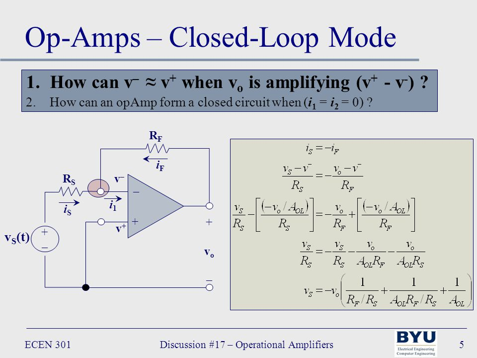 ECEN 301Discussion #17 – Operational Amplifiers5 Op-Amps – Closed-Loop Mode RFRF – + +vo–+vo– i1i1 RSRS v S (t) +–+– v+v+ v–v– iFiF iSiS 1.How can v – ≈ v + when v o is amplifying (v + - v - ) .