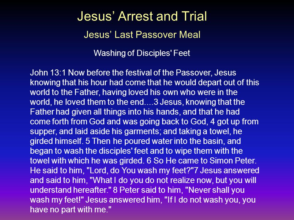 John 13:1 Now before the festival of the Passover, Jesus knowing that his hour had come that he would depart out of this world to the Father, having loved his own who were in the world, he loved them to the end....3 Jesus, knowing that the Father had given all things into his hands, and that he had come forth from God and was going back to God, 4 got up from supper, and laid aside his garments; and taking a towel, he girded himself.