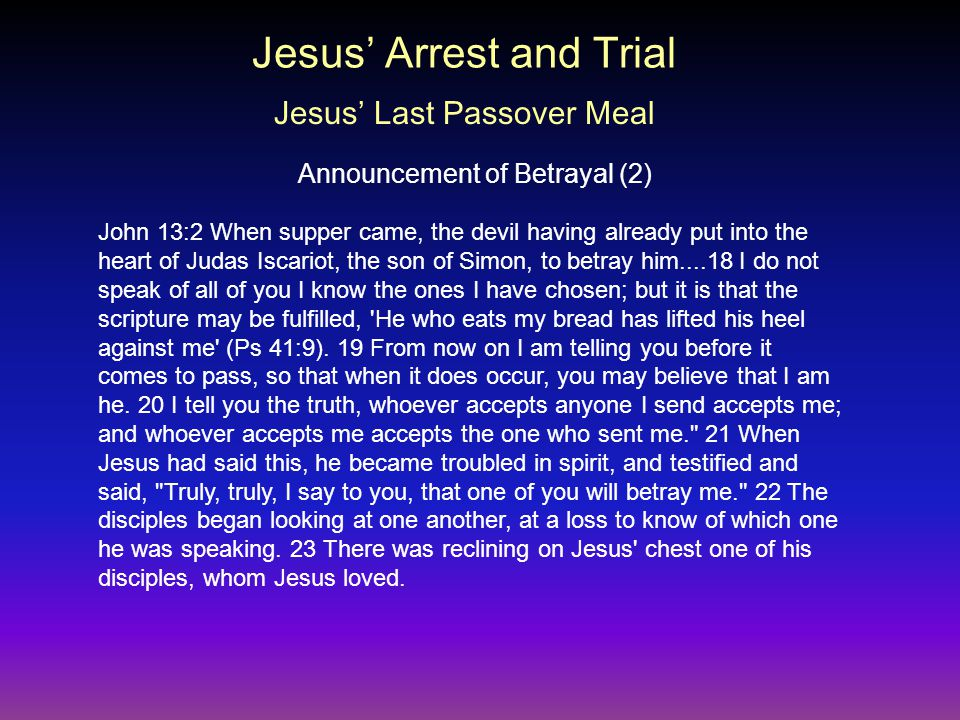 John 13:2 When supper came, the devil having already put into the heart of Judas Iscariot, the son of Simon, to betray him....18 I do not speak of all of you I know the ones I have chosen; but it is that the scripture may be fulfilled, He who eats my bread has lifted his heel against me (Ps 41:9).