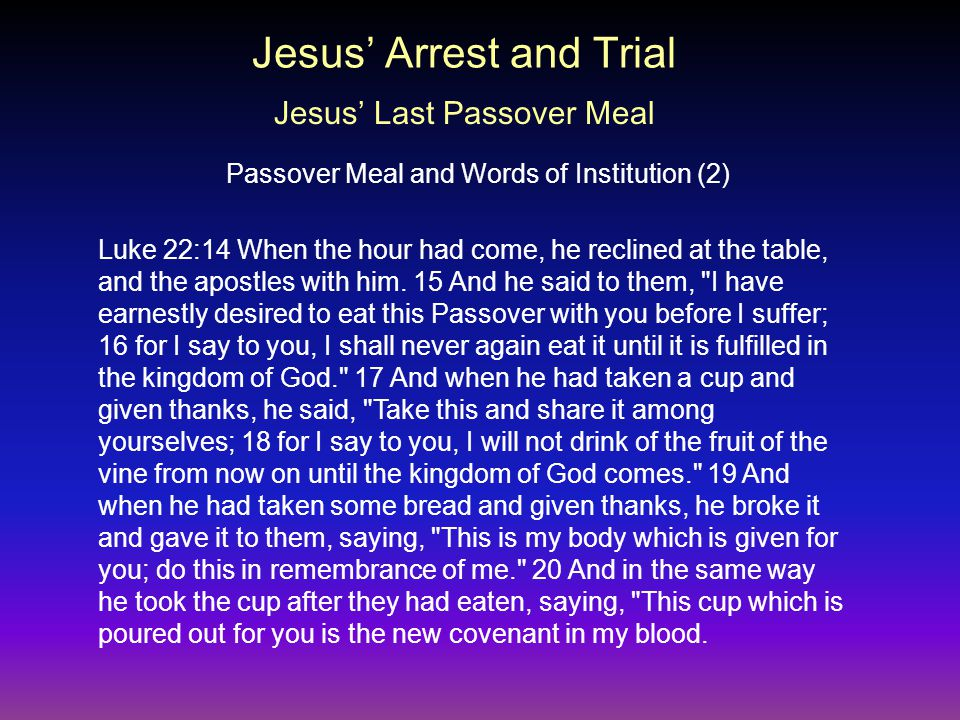 Luke 22:14 When the hour had come, he reclined at the table, and the apostles with him.
