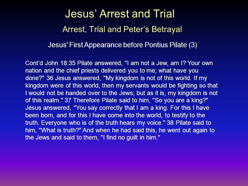 Cont'd John 18:35 Pilate answered, I am not a Jew, am I.