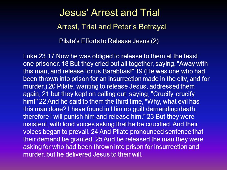 Luke 23:17 Now he was obliged to release to them at the feast one prisoner.