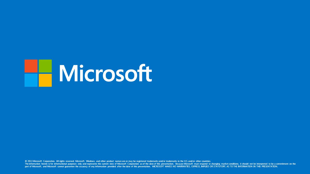 © 2013 Microsoft Corporation. All rights reserved. Microsoft, Windows, and other product names are or may be registered trademarks and/or trademarks i