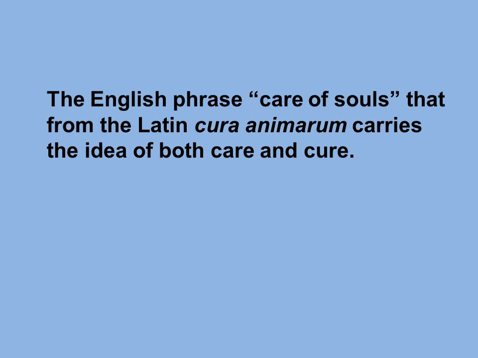 The English phrase care of souls that from the Latin cura animarum carries the idea of both care and cure.