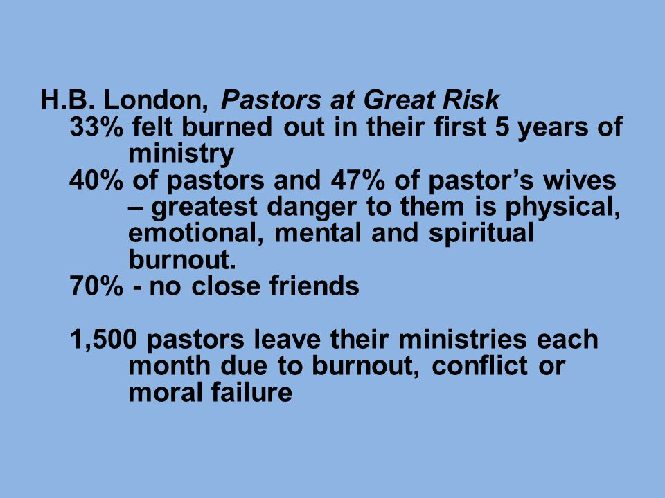 H.B. London, Pastors at Great Risk 33% felt burned out in their first 5 years of ministry 40% of pastors and 47% of pastor's wives – greatest danger t