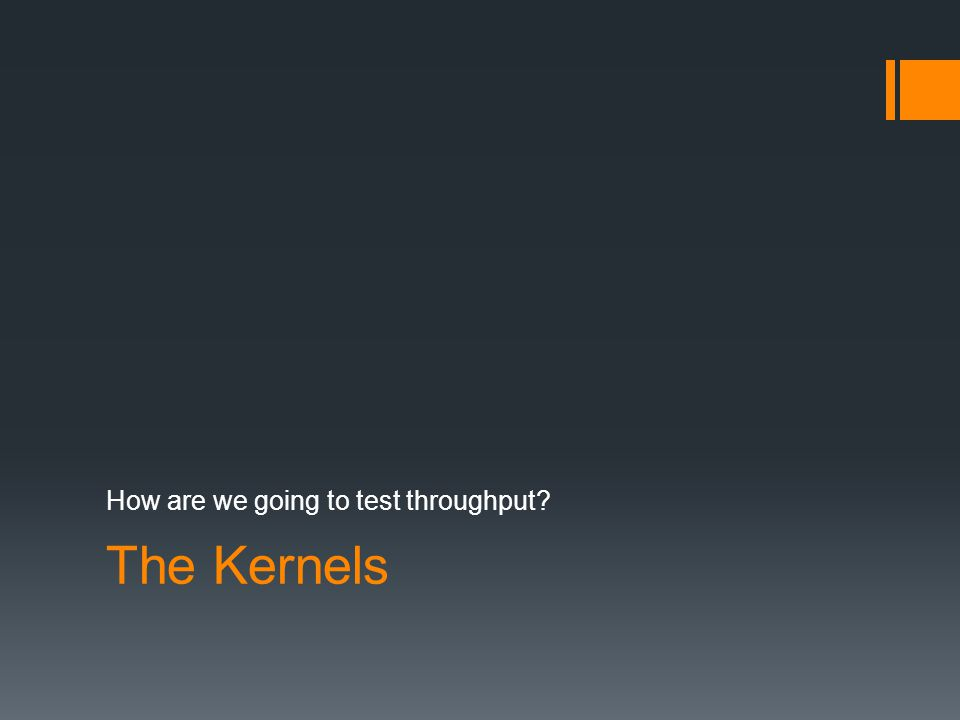 The Kernels How are we going to test throughput?