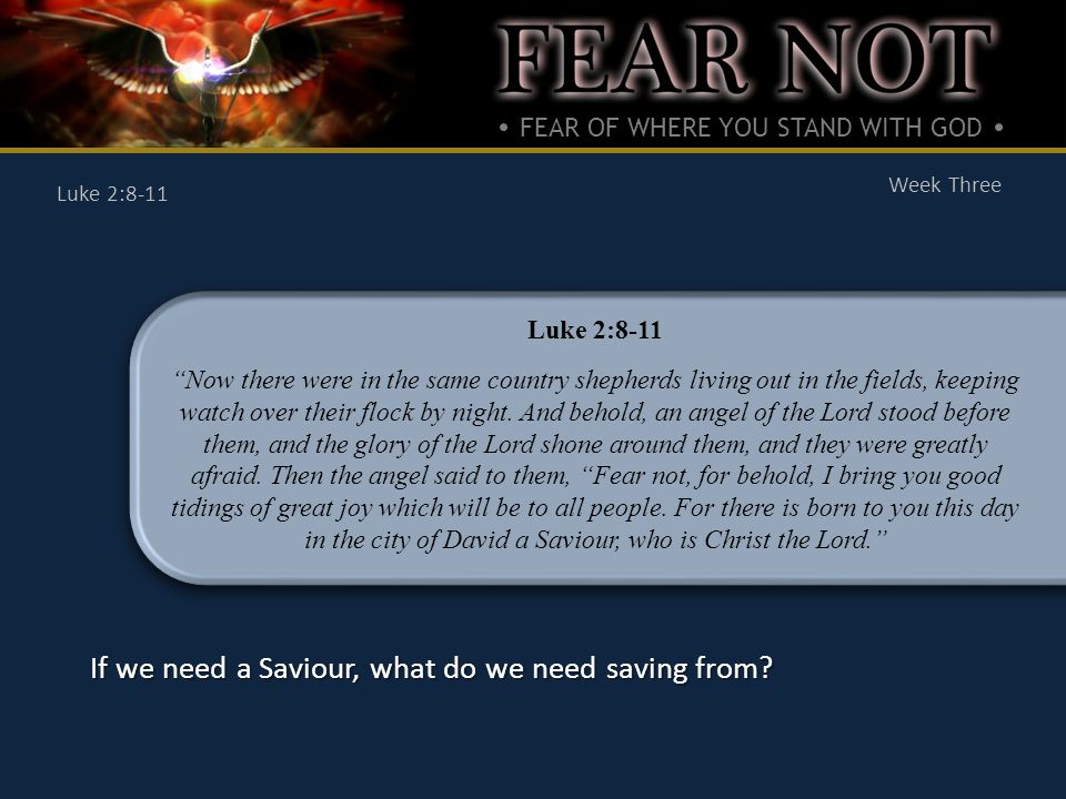 FEAR OF WHERE YOU STAND WITH GOD Week Three Luke 2:8-11 Who was speaking and who was being addressed.