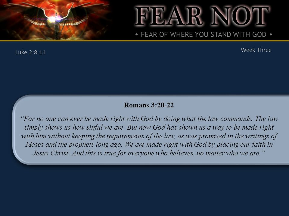 FEAR OF WHERE YOU STAND WITH GOD Week Three Luke 2:8-11 What is the Good News.