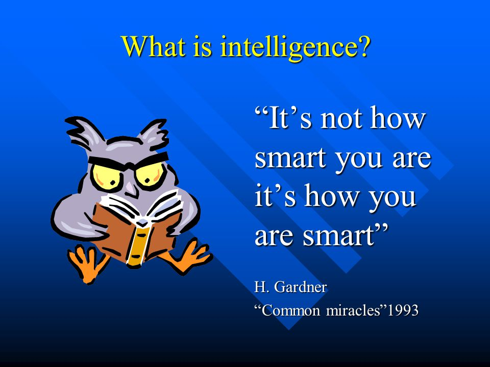 Clarification of the theory A traditional Multiple Intelligence profile
