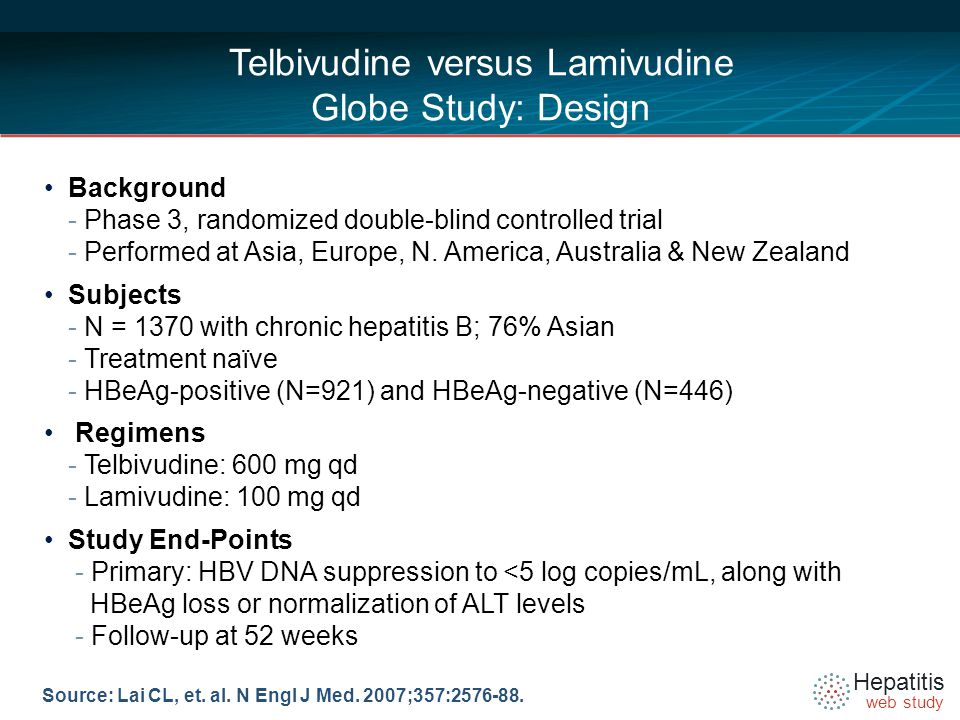 Hepatitis web study Telbivudine versus Lamivudine Globe Study: Design Background - Phase 3, randomized double-blind controlled trial - Performed at Asia, Europe, N.