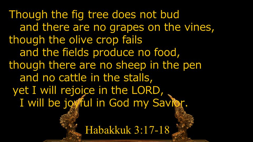Though the fig tree does not bud and there are no grapes on the vines, though the olive crop fails and the fields produce no food, though there are no