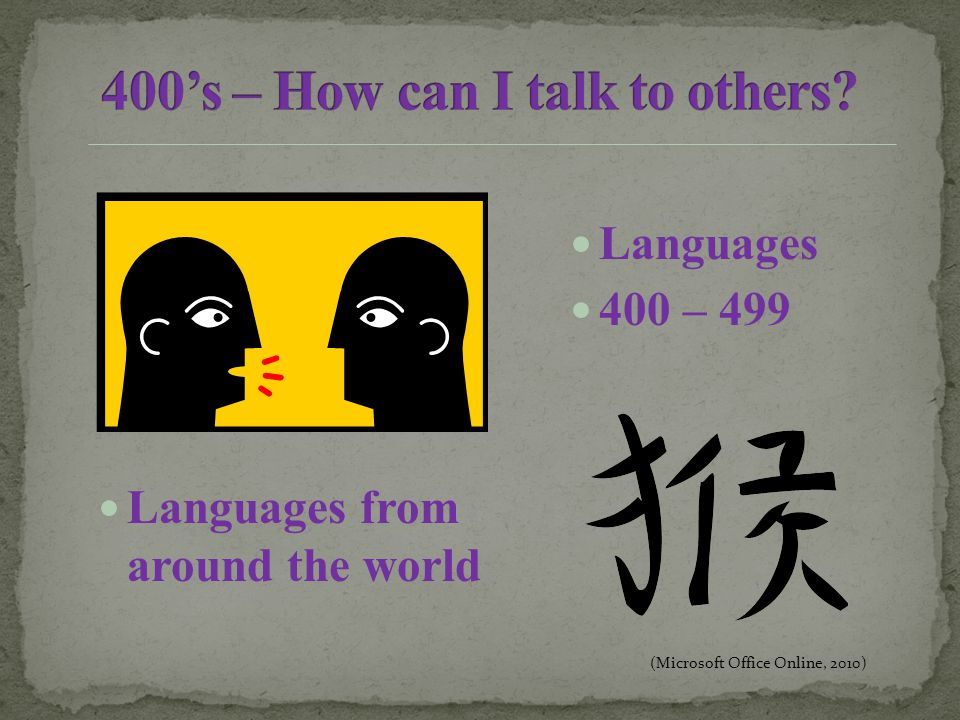 Languages 400 – 499 Languages from around the world (Microsoft Office Online, 2010)