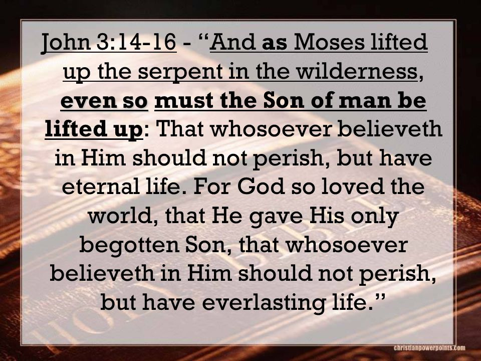 as even so John 3:14-16 - And as Moses lifted up the serpent in the wilderness, even so must the Son of man be lifted up: That whosoever believeth in Him should not perish, but have eternal life.