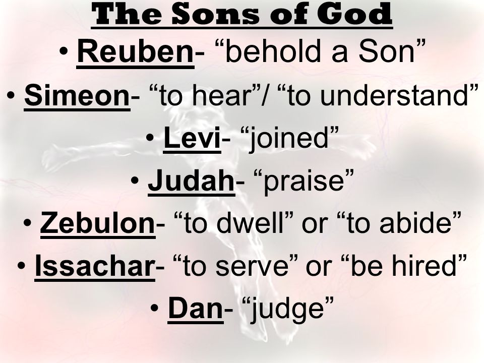 Reuben- behold a Son Simeon- to hear / to understand Levi- joined Judah- praise Zebulon- to dwell or to abide Issachar- to serve or be hired Dan- judge The Sons of God