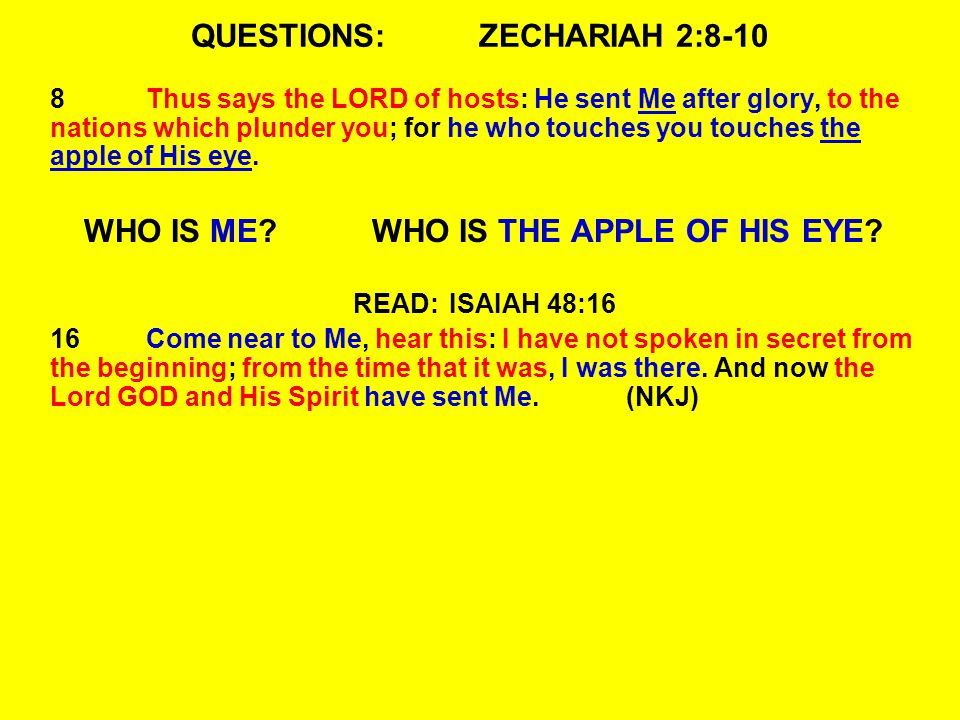 QUESTIONS:ZECHARIAH 2:8-10 8Thus says the LORD of hosts: He sent Me after glory, to the nations which plunder you; for he who touches you touches the