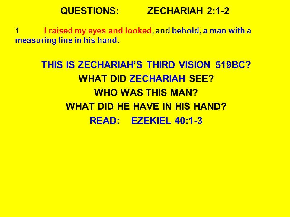 QUESTIONS:ZECHARIAH 2:1-2 WHAT DID EZEKIEL SEE.