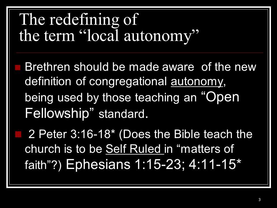 4 Autonomous Churches Are they Christ Ruled.