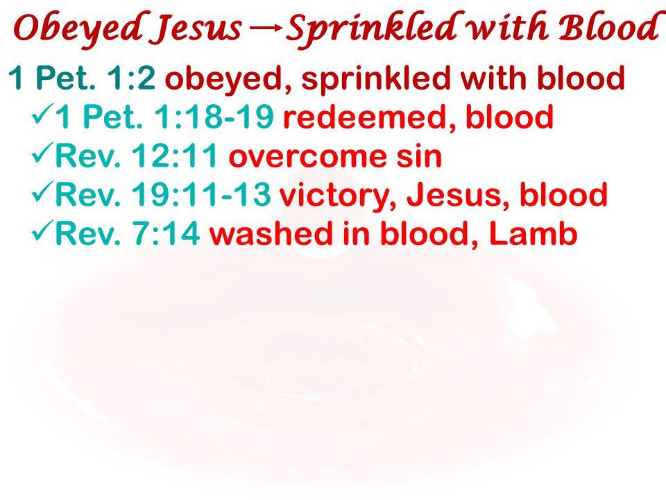 1 Pet. 1:2 obeyed, sprinkled with blood 1 Pet. 1:18-19 redeemed, blood Rev. 12:11 overcome sin Rev. 19:11-13 victory, Jesus, blood Rev. 7:14 washed in
