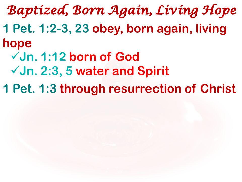 1 Pet. 1:2-3, 23 obey, born again, living hope Jn. 1:12 born of God Jn. 2:3, 5 water and Spirit Baptized, Born Again, Living Hope 1 Pet. 1:3 through r