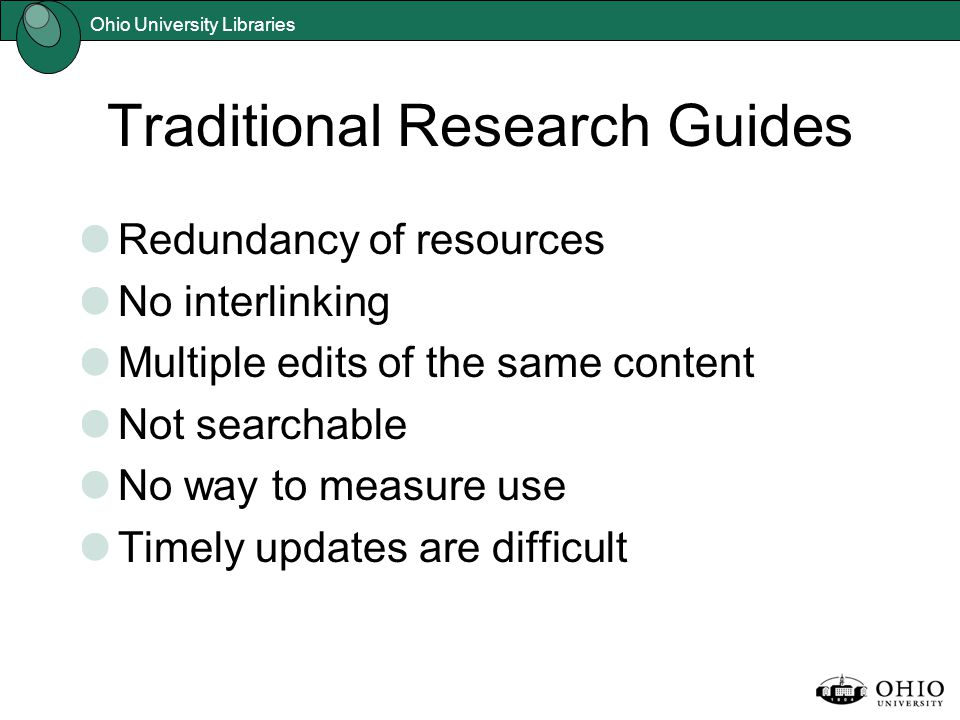 Ohio University Libraries Traditional Research Guides Redundancy of resources No interlinking Multiple edits of the same content Not searchable No way to measure use Timely updates are difficult