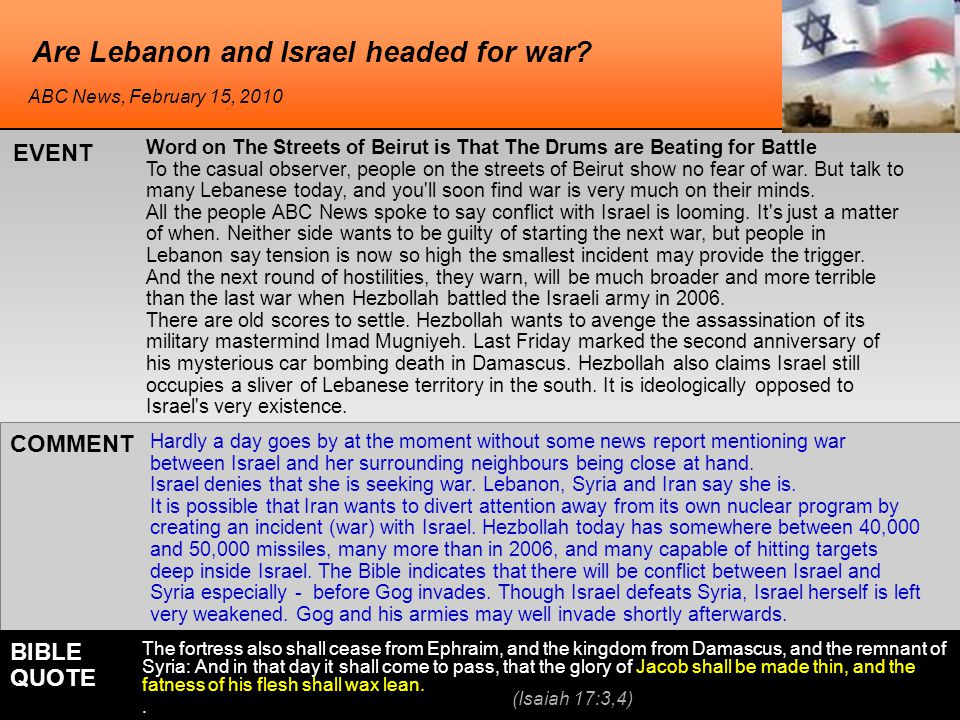 Are Lebanon and Israel headed for war.