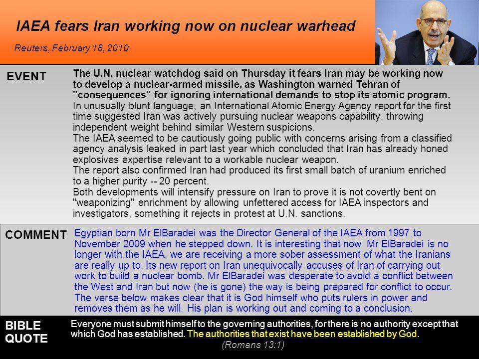 IAEA fears Iran working now on nuclear warhead The U.N.