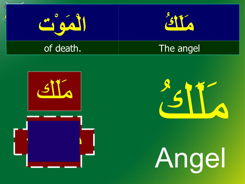 مَلَكُالْمَوْت The angelof death. مَلَكُ Angel مَلَك مَلاَئكَة
