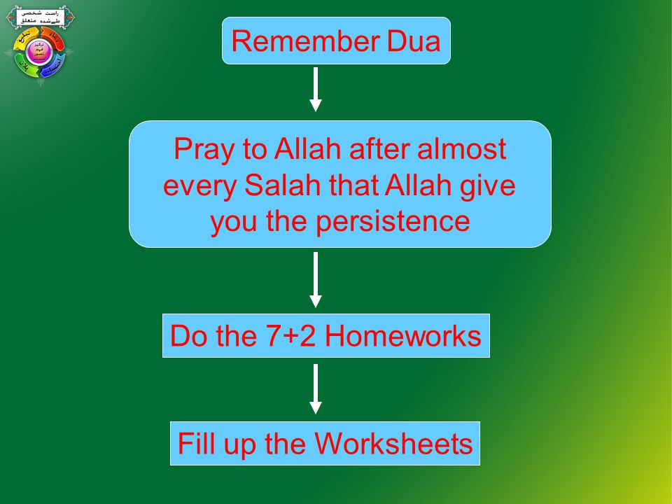 Fill up the Worksheets Do the 7+2 Homeworks Pray to Allah after almost every Salah that Allah give you the persistence Remember Dua
