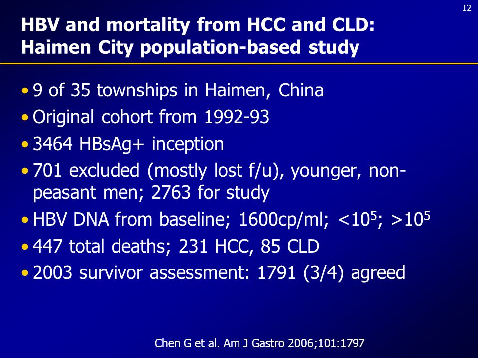 12 HBV and mortality from HCC and CLD: Haimen City population-based study 9 of 35 townships in Haimen, China Original cohort from 1992-93 3464 HBsAg+ inception 701 excluded (mostly lost f/u), younger, non- peasant men; 2763 for study HBV DNA from baseline; 1600cp/ml; 10 5 447 total deaths; 231 HCC, 85 CLD 2003 survivor assessment: 1791 (3/4) agreed Chen G et al.