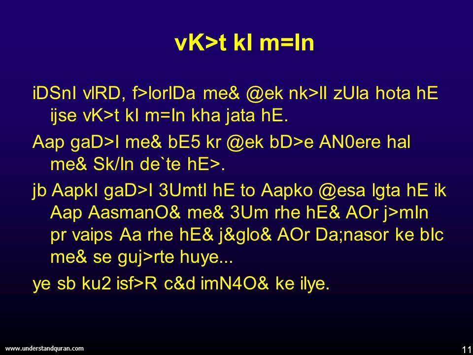 11 www.understandquran.com vK>t kI m=In iDSnI vlRD, f>lorIDa me& @ek nk>lI zUla hota hE ijse vK>t kI m=In kha jata hE.