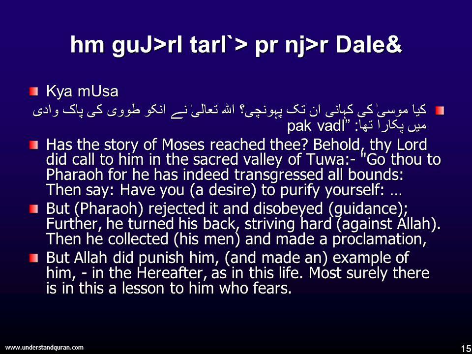 15 www.understandquran.com hm guJ>rI tarI`> pr nj>r Dale& Kya mUsa کیا موسیٰ کی کہانی ان تک پہونچی؟ اللہ تعالیٰ نے انکو طووی کی پاک وادی میں پکارا تھا : pak vadI Has the story of Moses reached thee.