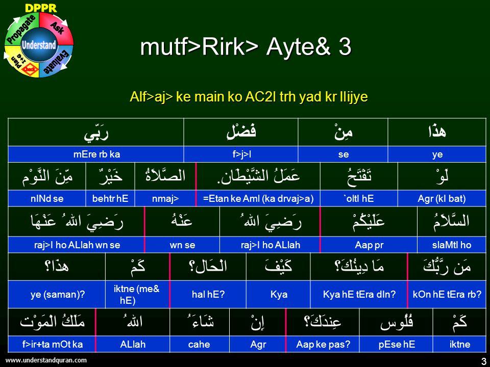 3 www.understandquran.com mutf>Rirk> Ayte& 3 Alf>aj> ke main ko AC2I trh yad kr lIijye هذَامِنْفَضْلِرَبِّي yesef>j>lmEre rb ka لَوْتَفْتَحُ عَمَلُ الشَّيْطَان.