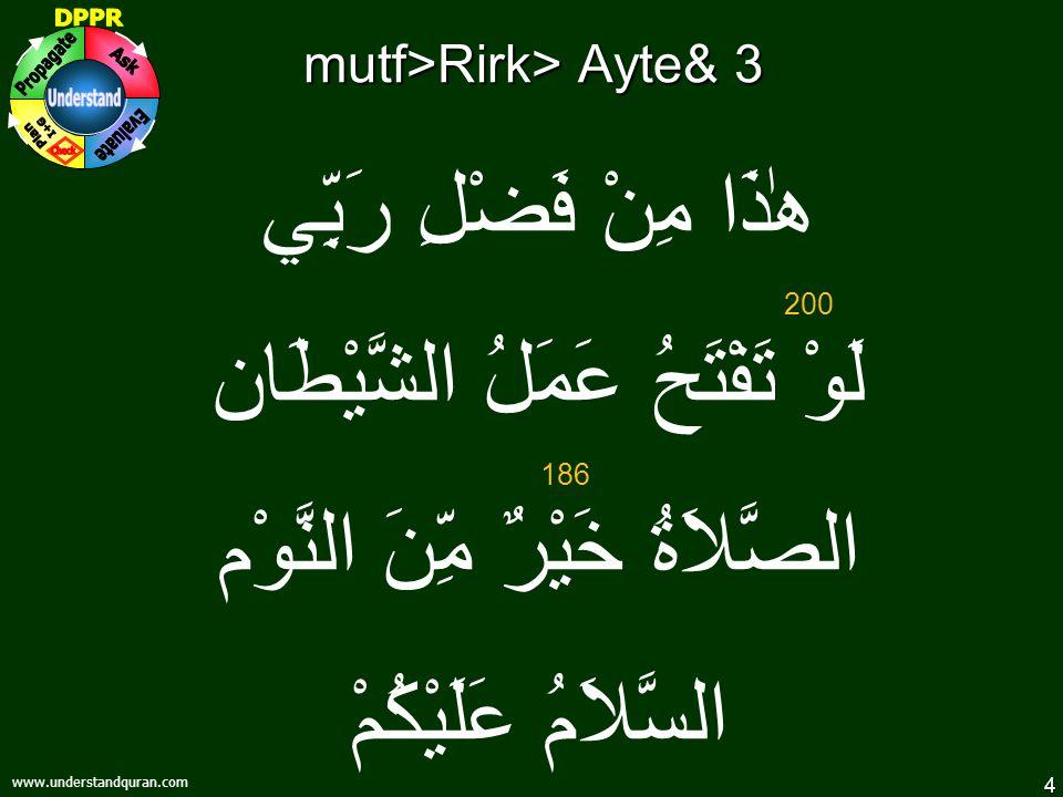 4 www.understandquran.com mutf>Rirk> Ayte& 3 هٰذَا مِنْ فَضْلِ رَبِّي لَوْ تَفْتَحُ عَمَلُ الشَّيْطَان الصَّلاَةُ خَيْرٌ مِّنَ النَّوْم السَّلاَمُ عَلَيْكُمْ 200 186