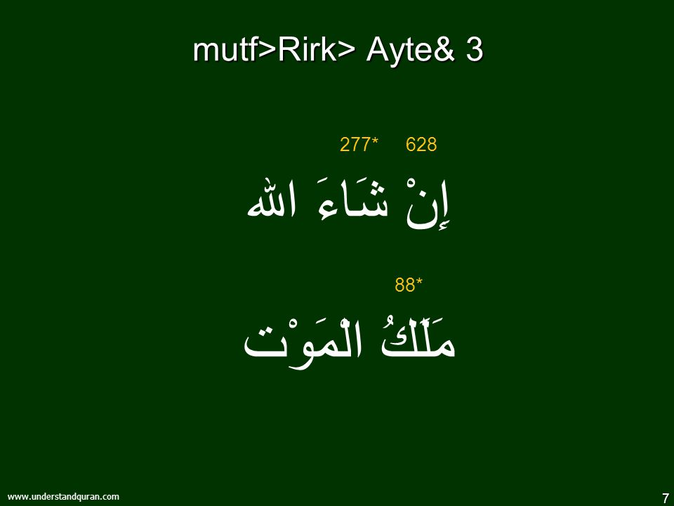 7 www.understandquran.com mutf>Rirk> Ayte& 3 إِنْ شَاءَ الله مَلَكُ الْمَوْت 628277* 88*
