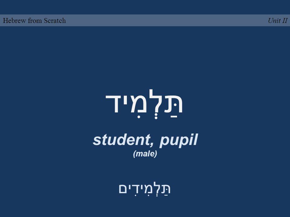 תַּלְמִיד student, pupil (male) Unit IIHebrew from Scratch תַּלְמִידִים
