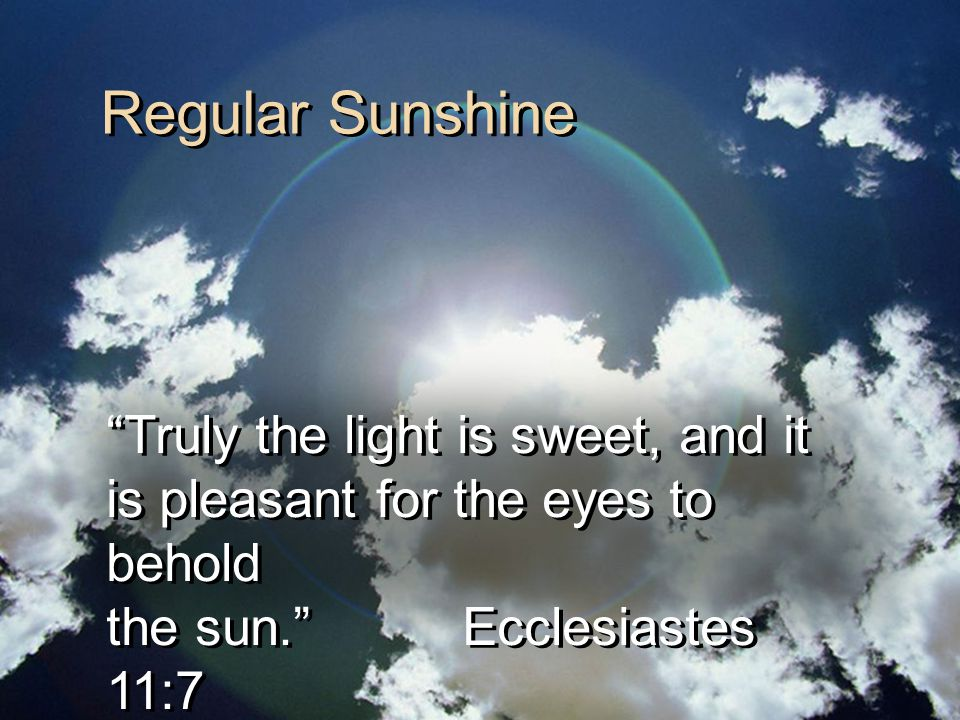 Regular Sunshine Truly the light is sweet, and it is pleasant for the eyes to behold the sun. Ecclesiastes 11:7 Truly the light is sweet, and it is pleasant for the eyes to behold the sun. Ecclesiastes 11:7