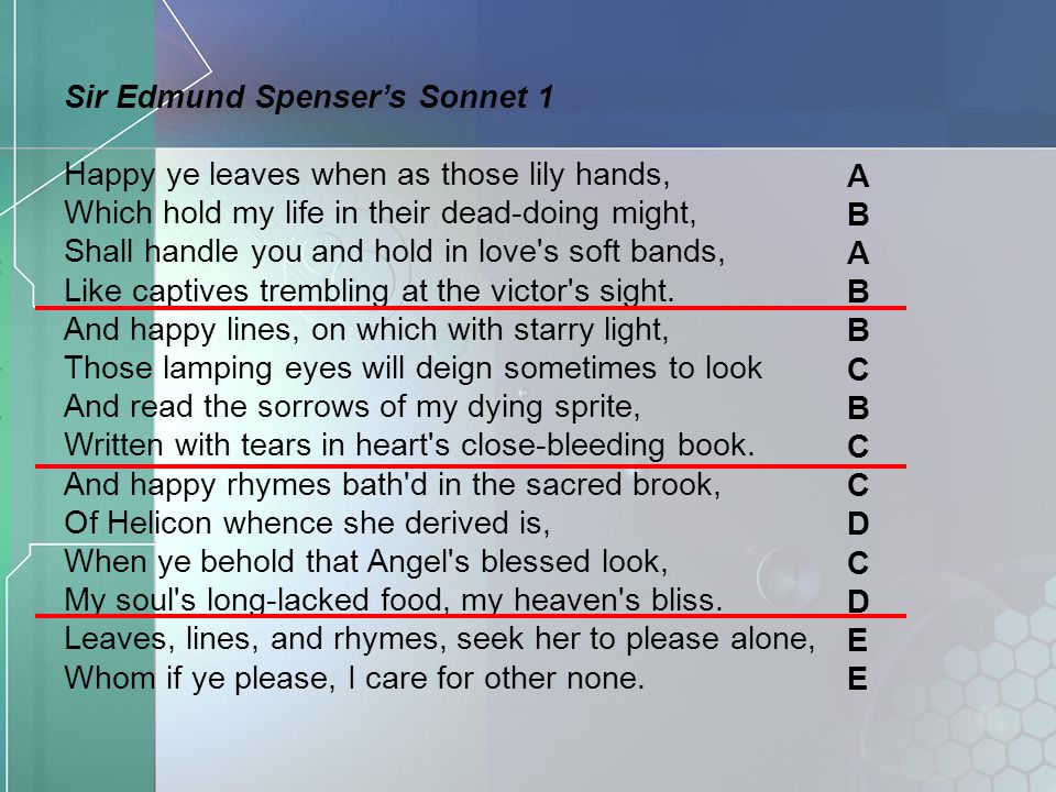 Sir Edmund Spenser's Sonnet 1 Happy ye leaves when as those lily hands, Which hold my life in their dead-doing might, Shall handle you and hold in lov