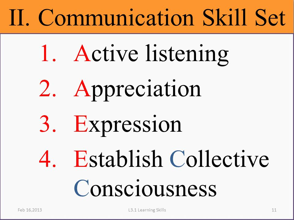 II.Communication Skill Set 1.Active listening 2.Appreciation 3.Expression 4.Establish Collective Consciousness Feb 16,2013L3.1 Learning Skills11