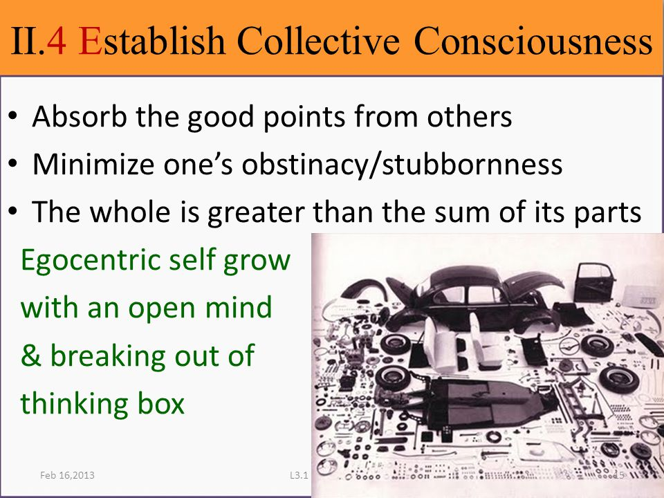 II.4 Establish Collective Consciousness Feb 16,2013L3.1 Learning Skills Absorb the good points from others Minimize one's obstinacy/stubbornness The whole is greater than the sum of its parts Egocentric self grow with an open mind & breaking out of thinking box 15